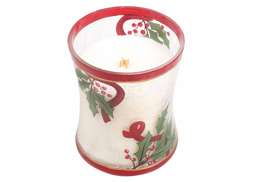 _DISCONTINUED - *Cinnamon Cheer Medium Decal Crackle Glass WoodWick Candle