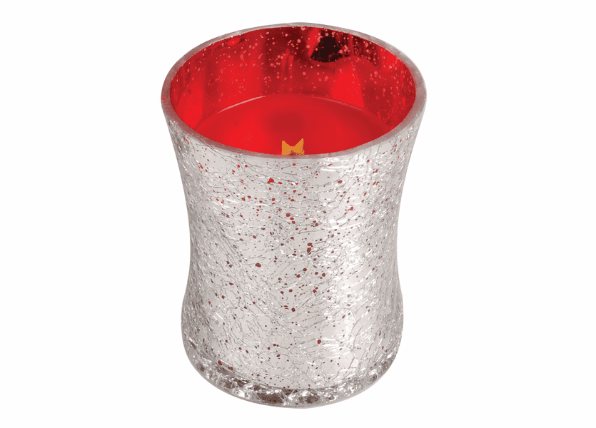 _DISCONTINUED - *Cinnamon Cheer Metallic Crackle Glass WoodWick Candle