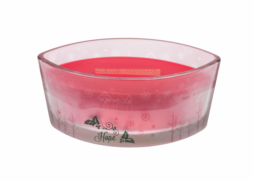 _DISCONTINUED - *Cinnamon Cheer Scenic Ellipse Glass WoodWick Candle HearthWick Flame