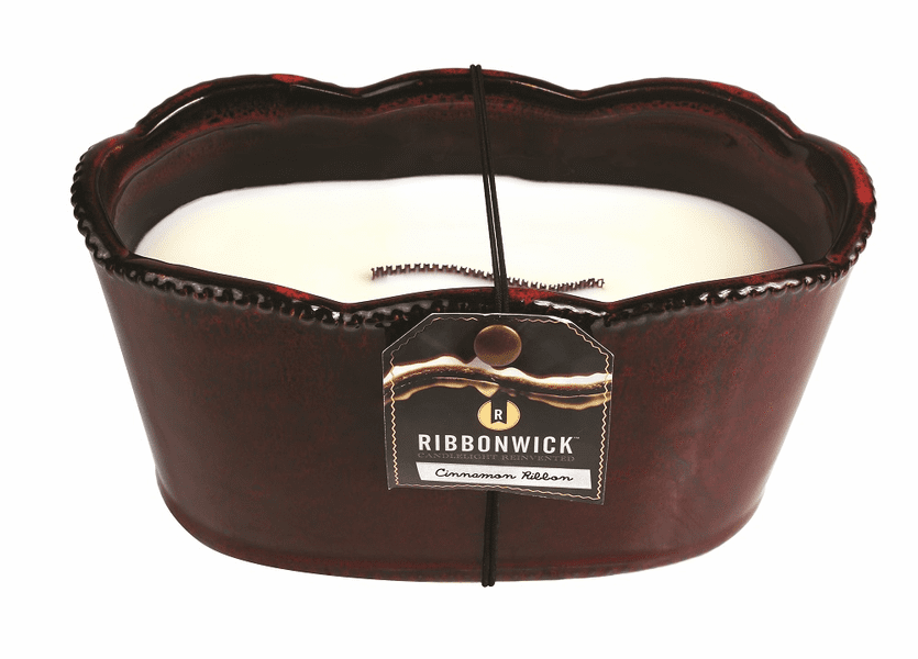 _DISCONTINUED - *Cinnamon Ribbon Large Oval Premium RibbonWick Candle