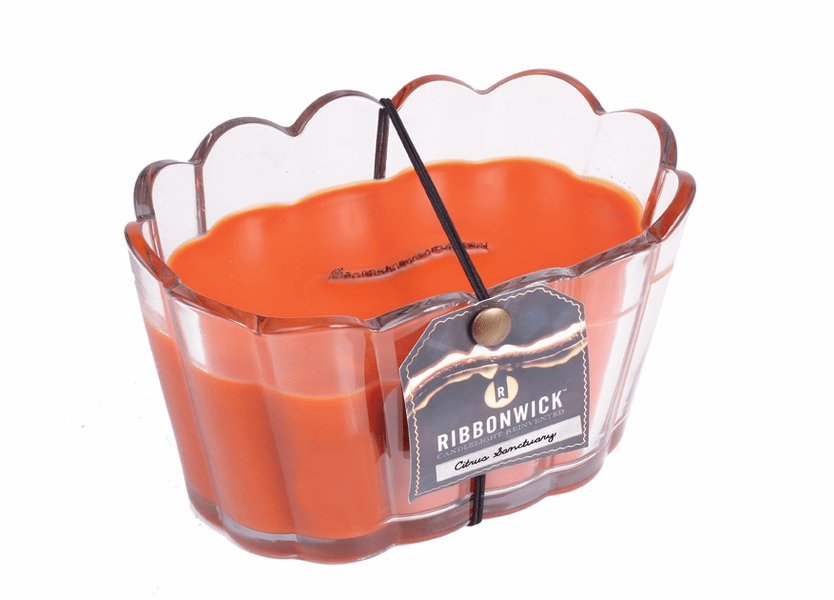 _DISCONTINUED - Citrus Sanctuary Scalloped Glass RibbonWick Candle