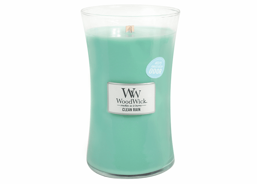 _DISCONTINUED - Clean Rain WoodWick ODOR NEUTRALIZING Candle 22 oz.