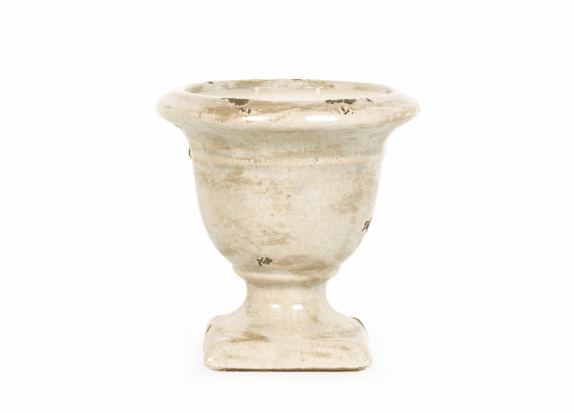 _DISCONTINUED - Cloister Ivory Cream Crackle Large Tuscan Urn Nouvelle Candle