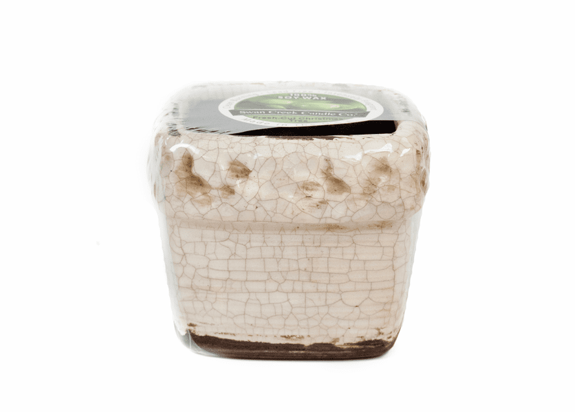_DISCONTINUED - CLOSEOUT - Fresh-Cut Christmas Tree Holiday Ribbed Square Pot  (Color: White)