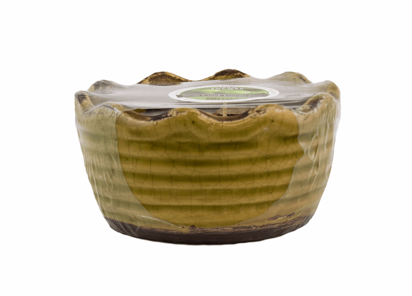 _DISCONTINUED - CLOSEOUT - Oakmoss & Sage Leaf Swan Creek Ribbed Ruffled Bowl Candle (Color: Lime Green)