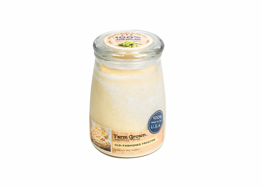 _DISCONTINUED - CLOSEOUT - Old Fashioned Frosting 21 oz. Large Glass Farm Grown Candle