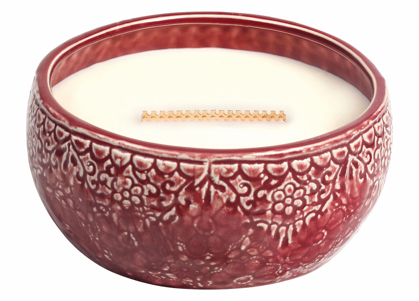 _DISCONTINUED - COMING SOON! - Linen Scarlet Large Round WoodWick Candle with HearthWick Flame