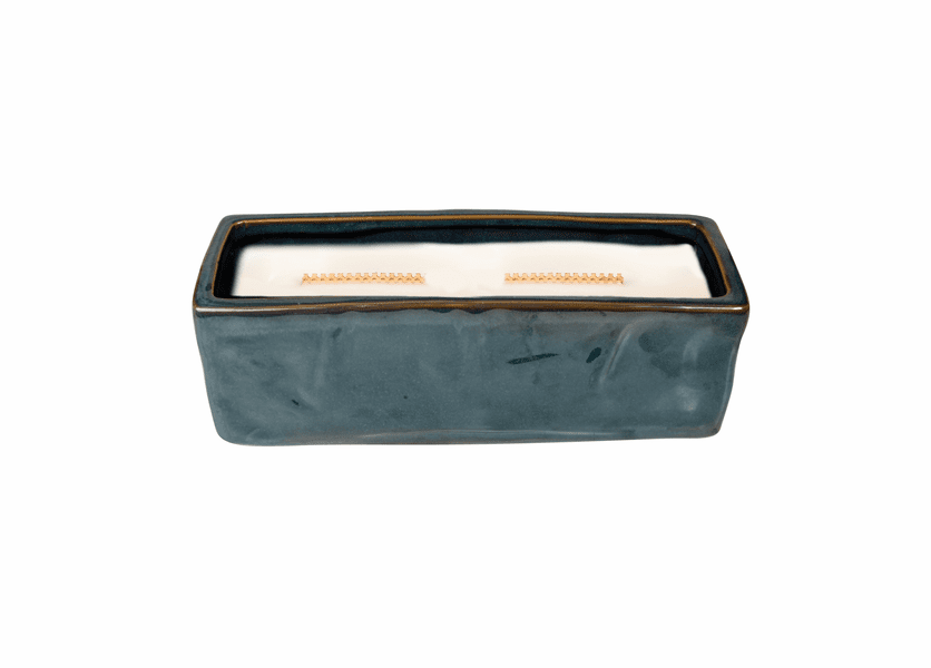 _DISCONTINUED - COMING SOON! - Linen Wavy Blue Large Rectangle WoodWick Candle with HearthWick Flame