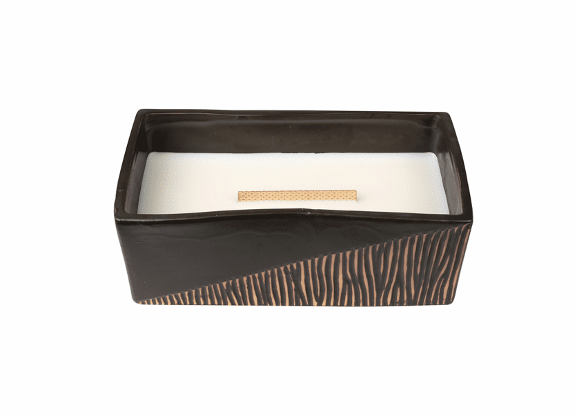 _DISCONTINUED - Cool Linen Two-Tone Medium Rectangle WoodWick Candle with HearthWick Flame