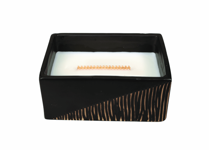 _DISCONTINUED - Cool Linen Two-Tone Small Rectangle WoodWick Candle with HearthWick Flame