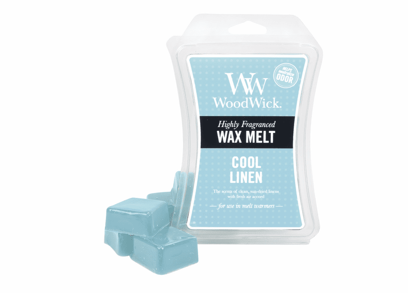 _DISCONTINUED - Cool Linen WoodWick ODOR NEUTRALIZING 3 oz. Hourglass Wax Melt