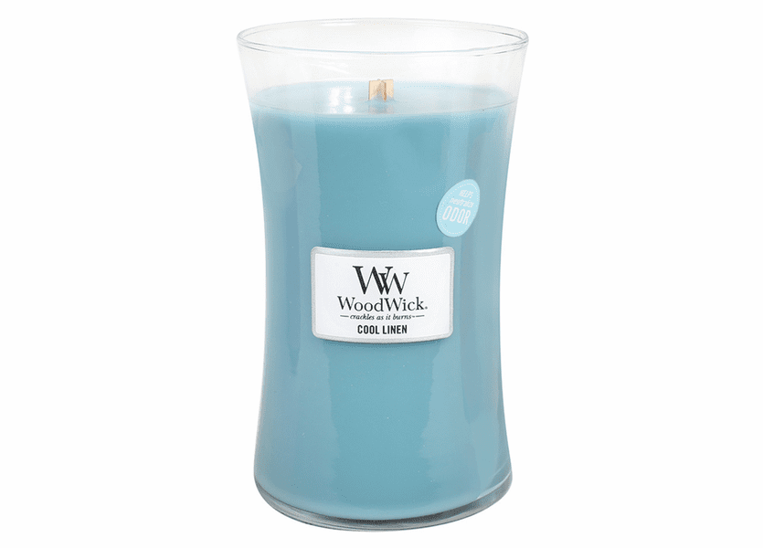 _DISCONTINUED - Cool Linen WoodWick ODOR NEUTRALIZING Candle 22 oz.