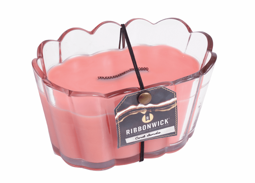 _DISCONTINUED - Coral Sands Scalloped Glass RibbonWick Candle