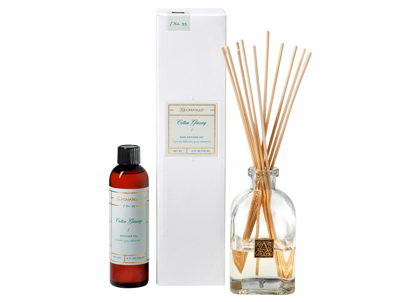 _DISCONTINUED_Cotton Ginseng 4 oz. Reed Diffuser Set by Aromatique