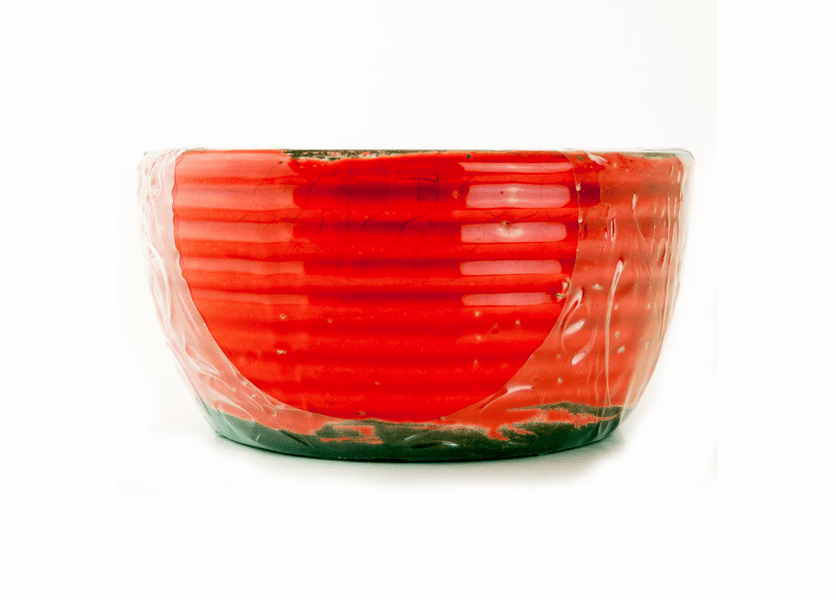 _DISCONTINUED - Cranberry Apple Crisp Ribbed Flat Rim Bowl Swan Creek Candle (Color: Red)