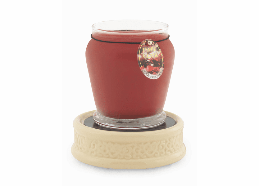 _DISCONTINUED - Cream Emboss Ceramic Plate Candle Warmer