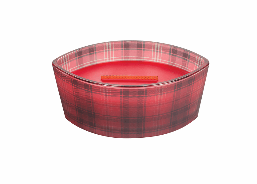 _DISCONTINUED - Crimson Berried Plaid Ellipse WoodWick Candle