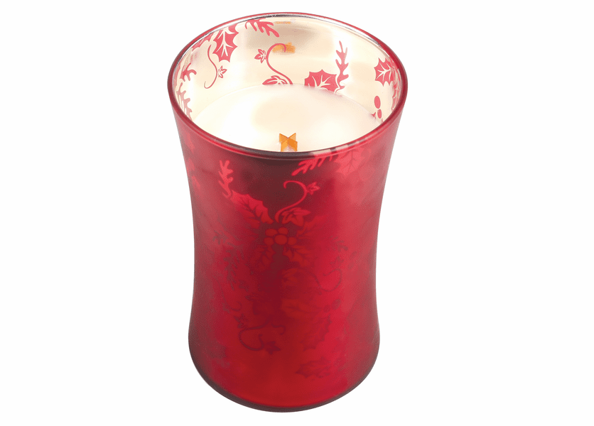 _DISCONTINUED - *Crimson Berries Large WoodWick Dancing Glass Candle