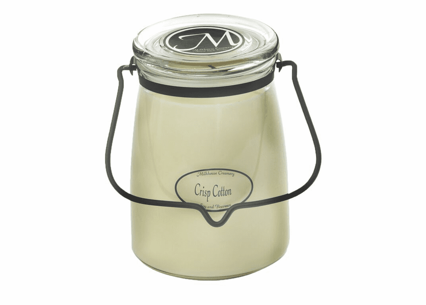 _DISCONTINUED - Crisp Cotton 22 oz. Butter Jar Candle by Milkhouse Candle Creamery