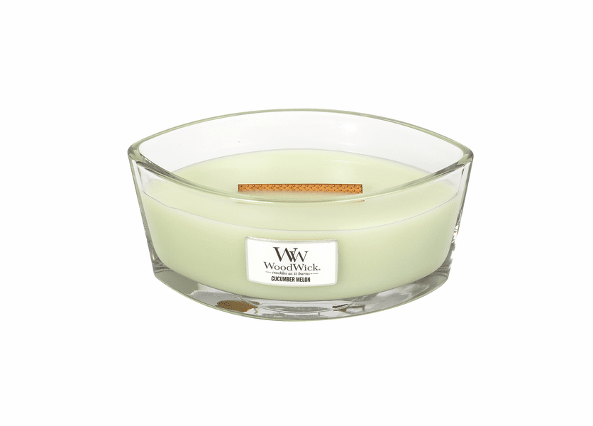 _DISCONTINUED - Cucumber Melon WoodWick Candle 16 oz. HearthWick Flame