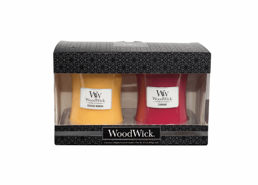 _DISCONTINUED - Currant / Seaside Mimosa 10 oz. Candle 2-Pack Gift Set by WoodWick