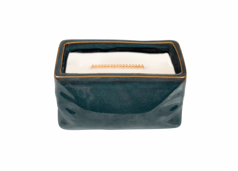 _DISCONTINUED - Currant Wavy Blue Medium Rectangle WoodWick Candle with HearthWick Flame