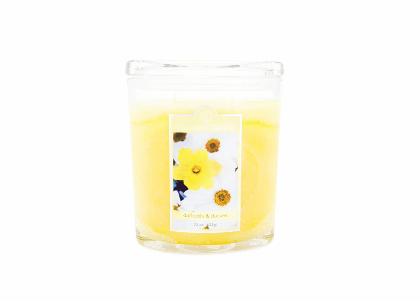 _DISCONTINUED - Daffodils & Daisies 22 oz. Oval Jar Colonial Candle