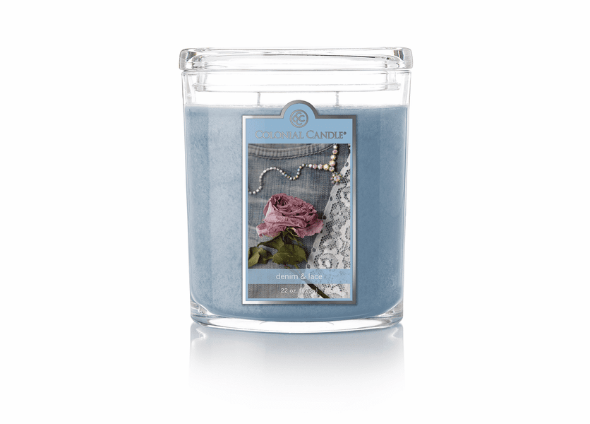 _DISCONTINUED - Denim & Lace 22 oz. Oval Jar Colonial Candle