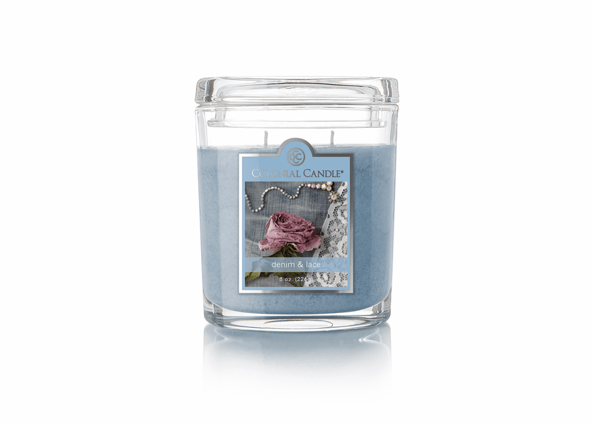 _DISCONTINUED - Denim & Lace 8 oz. Oval Jar Colonial Candle