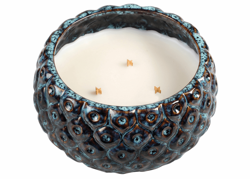 _DISCONTINUED - Dew Drops Peacock Round WoodWick Candle