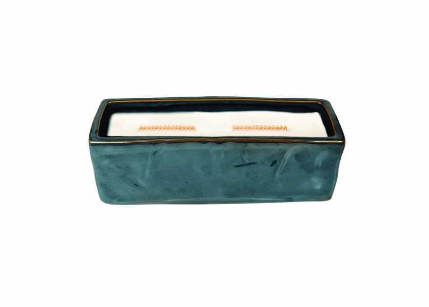 _DISCONTINUED - Dew Drops Wavy Blue Large Rectangle WoodWick Candle with HearthWick Flame
