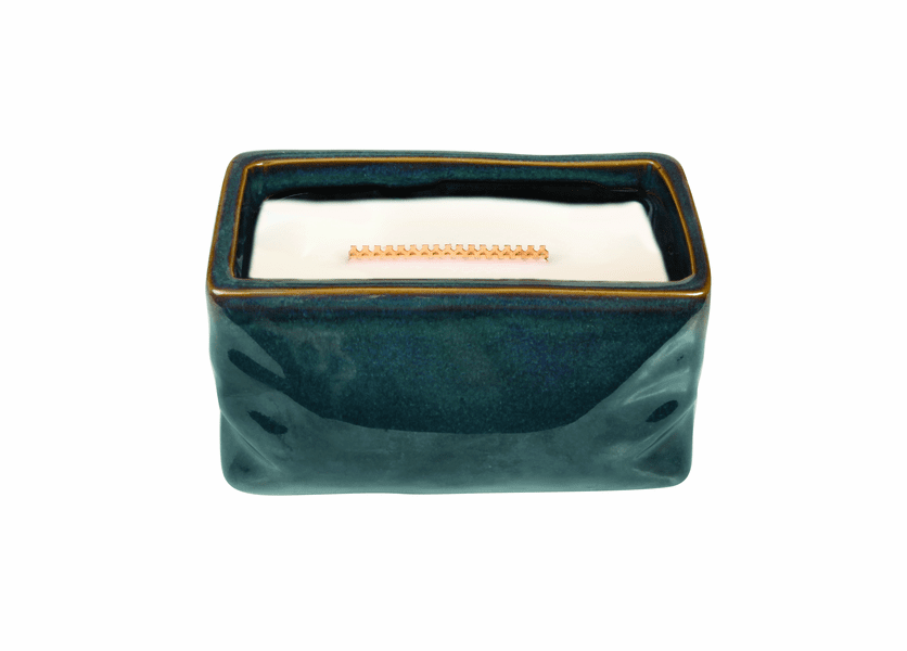 _DISCONTINUED - Dew Drops Wavy Blue Medium Rectange WoodWick Candle with HearthWick Flame