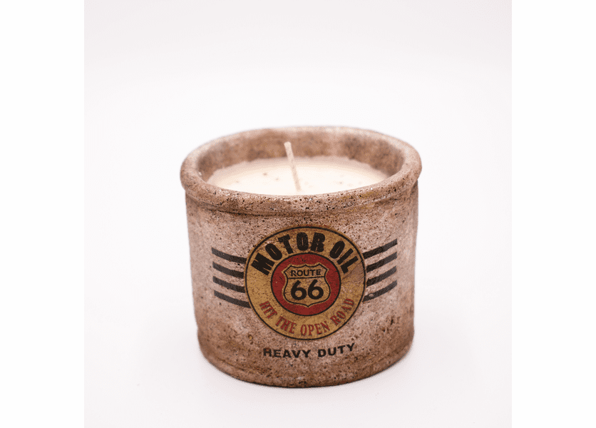"_DISCONTINUED - Dolce Spice Latte American Highway ""Tire Shop"" Small Round Pot Swan Creek Candle"