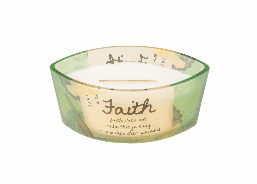 _DISCONTINUED - Faith Vanilla Bean Inspirational Ellipse WoodWick Candle HearthWick Flame
