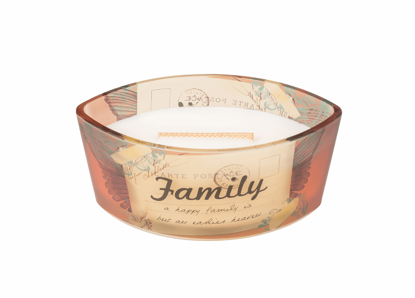 _DISCONTINUED - Family Vanilla Bean Inspirational Ellipse WoodWick Candle HearthWick Flame