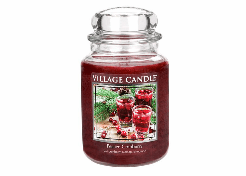 _DISCONTINUED - *Festive Cranberry 26 oz. Premium Round by Village Candles
