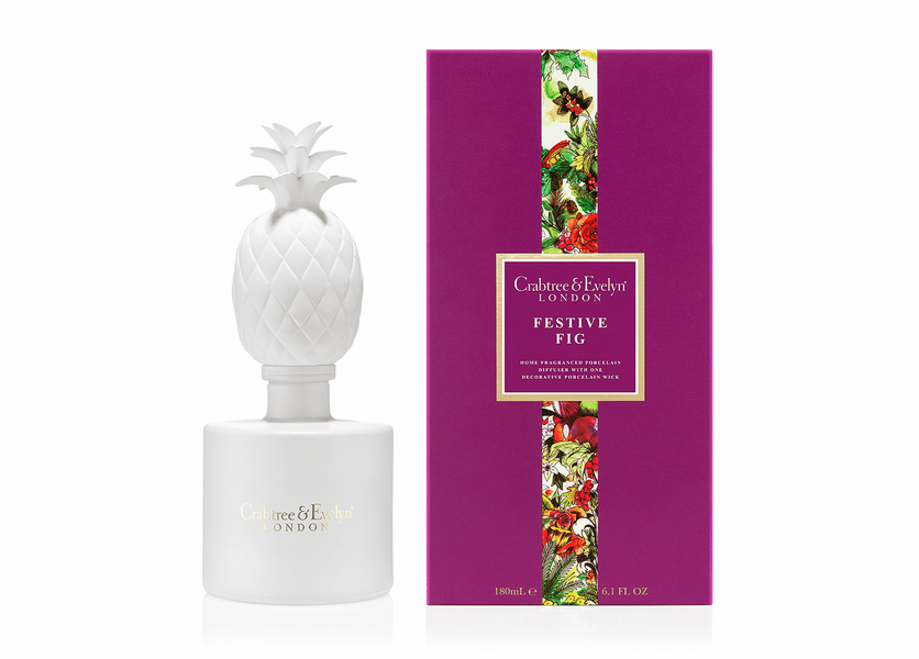 _DISCONTINUED - Festive Fig 180mL Porcelain Diffuser - Holiday Collection by Crabtree & Evelyn