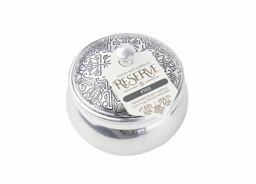 _DISCONTINUED - Fire 4 oz. Silver Tin Candle by Aspen Bay Candles