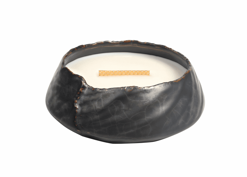 _DISCONTINUED - Fireside Brownstone Round WoodWick Candle with HearthWick Flame