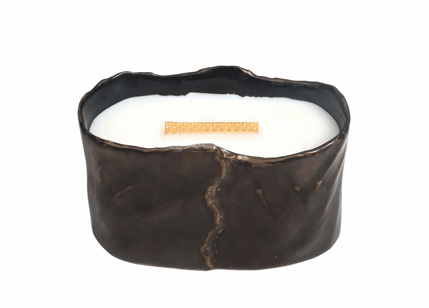 _DISCONTINUED - Fireside Brownstone Small Oval WoodWick Candle with HearthWick Flame