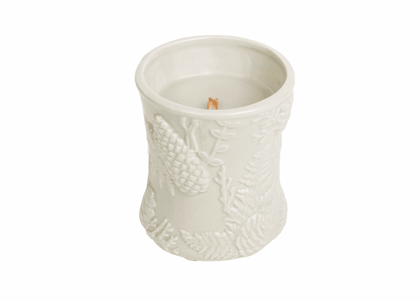 _DISCONTINUED - Fireside Ceramic Hourglass WoodWick Candle