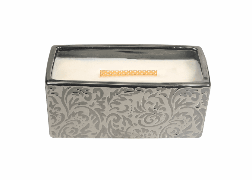 _DISCONTINUED - Fireside Damask Woods Rectangle WoodWick Candle with HearthWick Flame