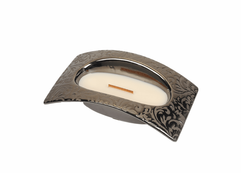 _DISCONTINUED - Fireside Damask Woods Small Bridge WoodWick Candle with HearthWick Flame