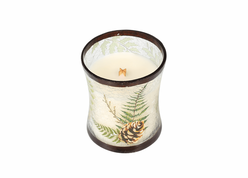 _DISCONTINUED - *Fireside Medium Fall Decal Crackle Glass WoodWick Candle