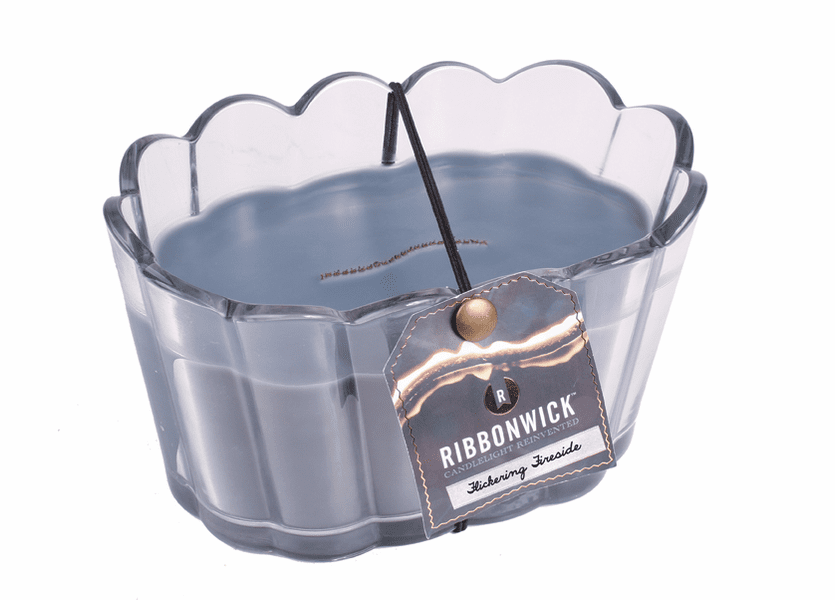 _DISCONTINUED - Flickering Fireside Scalloped Glass RibbonWick Candle