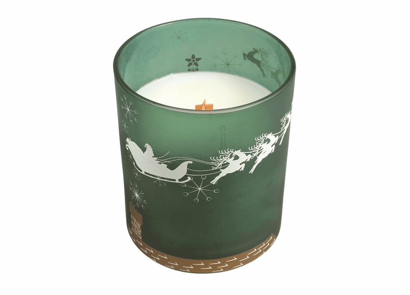 _DISCONTINUED - *Frasier Fir Holiday Green Decal Glass WoodWick Candle