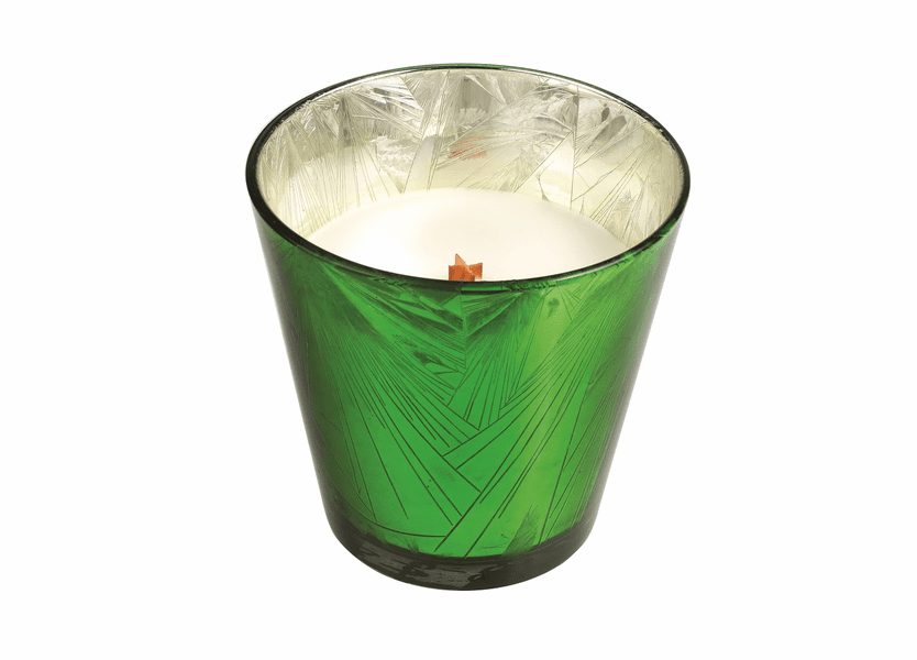 _DISCONTINUED - *Frasier Fir Holiday Green Starburst Glass WoodWick Candle