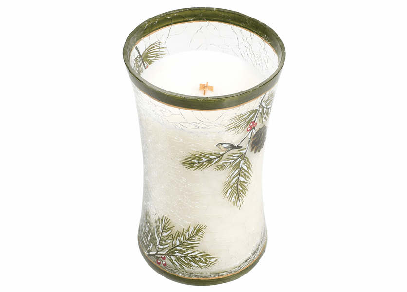 _DISCONTINUED - *Frasier Fir Large Decal Crackle Glass WoodWick Candle