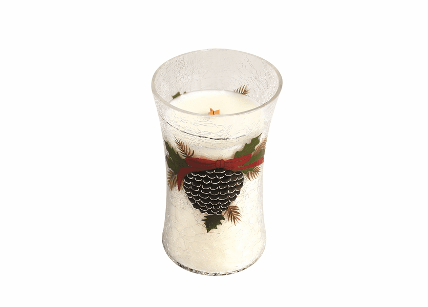 _DISCONTINUED - *Frasier Fir Large  Holiday Pine Cone Decal Crackle WoodWick Candle