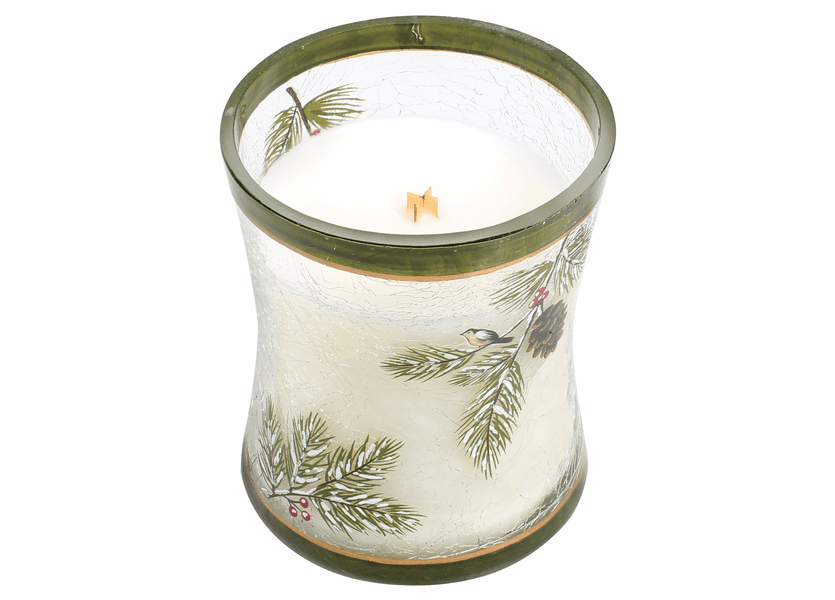 _DISCONTINUED - *Frasier Fir Medium Decal Crackle Glass WoodWick Candle